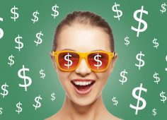 people, finance and money concept - happy screaming teenage girl